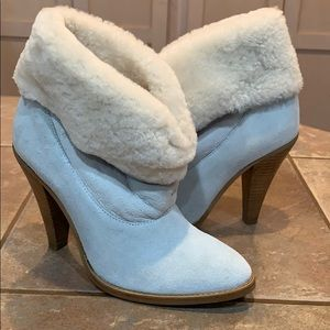 Steven madden booties slouch white fur leather